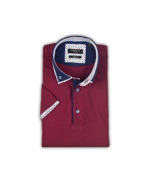 Giordano Ollie BD Double Collar SS Polo Jersey Burgundy