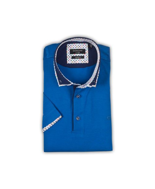 Giordano Ollie BD Double Collar SS Polo Jersey Blue