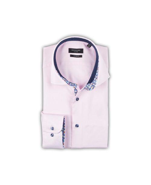 Giordano Brooks Semi-Cutaway Pink with Blue Geometric Trim