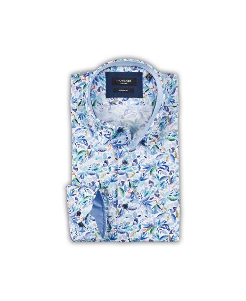 Giordano Brighton Button Under Floral Shirt Blue
