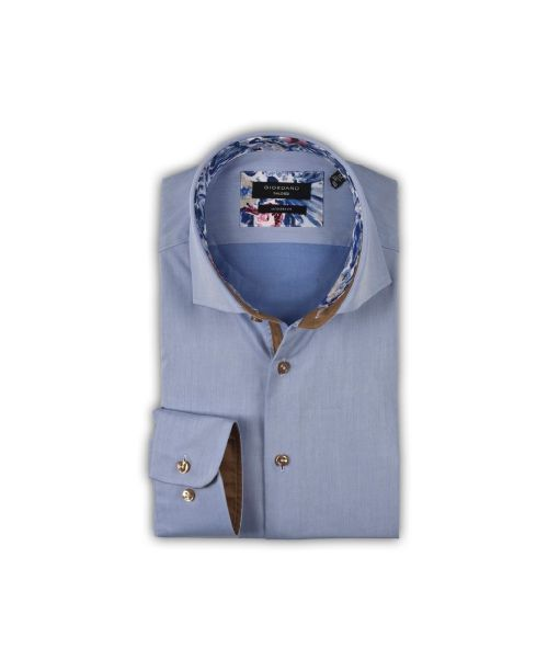 Giordano Brooks Long Sleeve Semi-Cutaway Blue Floral