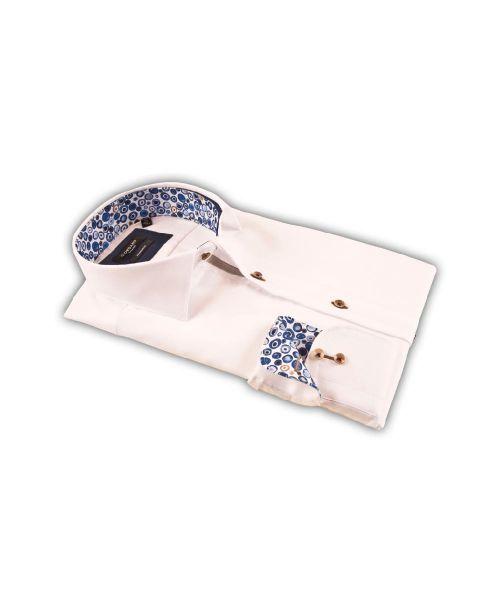 Giordano Arona Long Sleeve Cutaway White Shirt Blue Contrast
