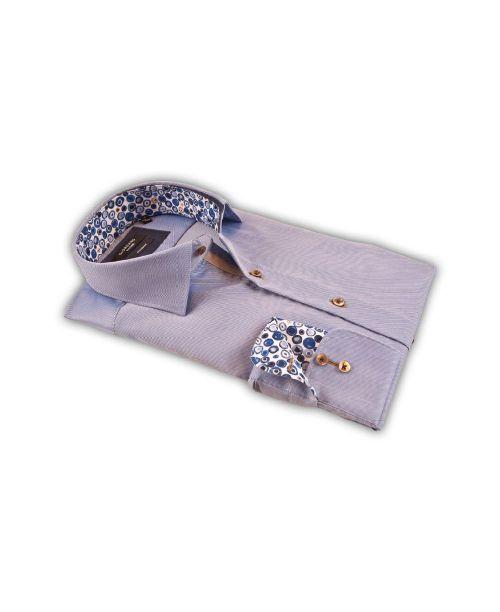 Giordano Arona Long Sleeve Cutaway Pale Blue Shirt Blue Contrast