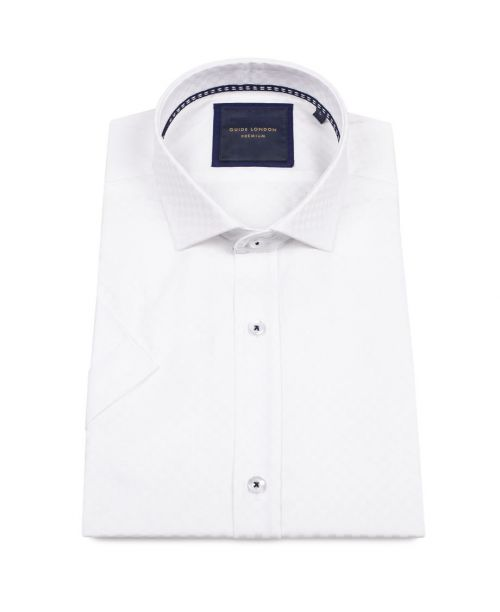 Guide London Short Sleeve Slim Fit Cotton Self Check Shirt White