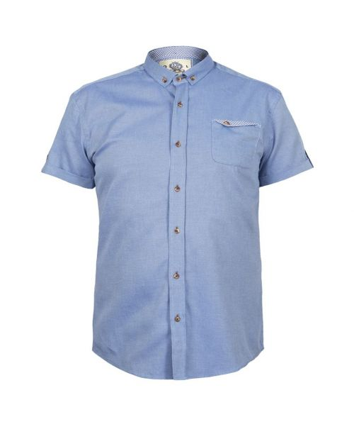 Guide London Short Sleeve Oxford Shirt Denim