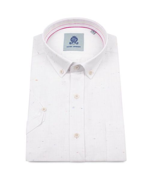 Guide London Light Weight Cotton Shirt with NEP Effect White