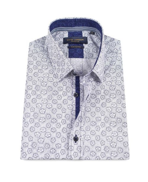 Guide London Cotton Flower Print Shirt White