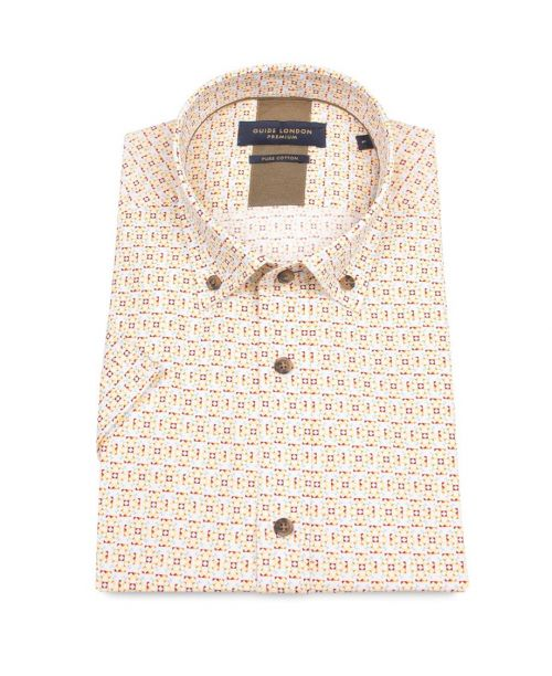 Guide London Bright Mediterranean Style Tile Print Cotton SS Shirt Mulberry