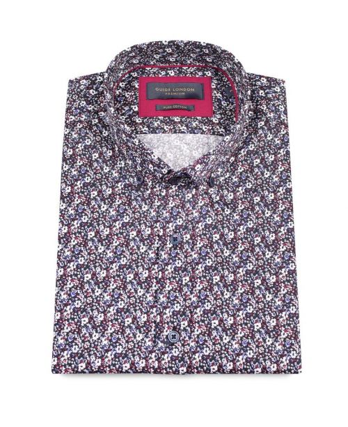 Guide London Black Cotton Dark Mini Floral Print SS Shirt