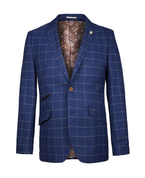 Guide London Classic Windowpane Check Blazer Blue