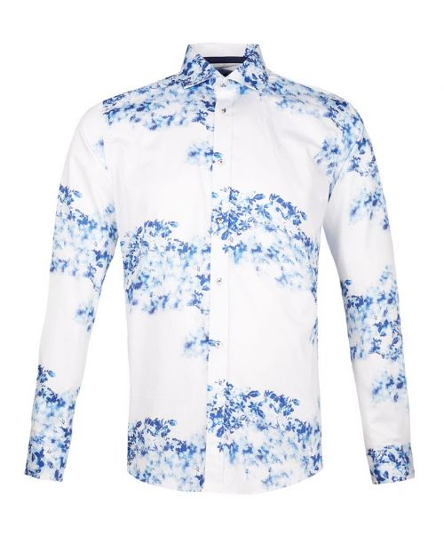 Guide London Cotton Sateen Floating Print Shirt White