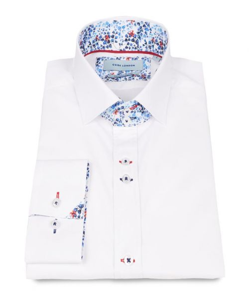 Guide London White Classic Floral Print Contrast Shirt