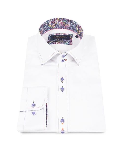 Guide London White Cotton Sateen Shirt with Retro Print Contrast