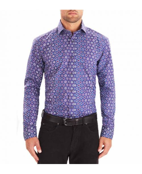 Guide London Blue Cotton Printed Shirt