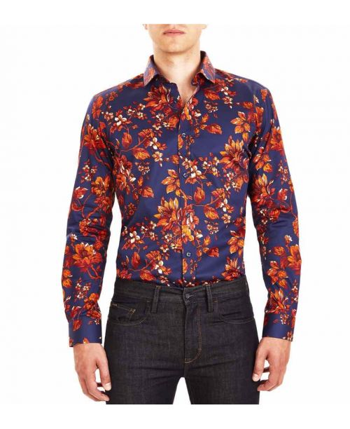 Guide London Navy Cotton Sateen Floral Print Shirt