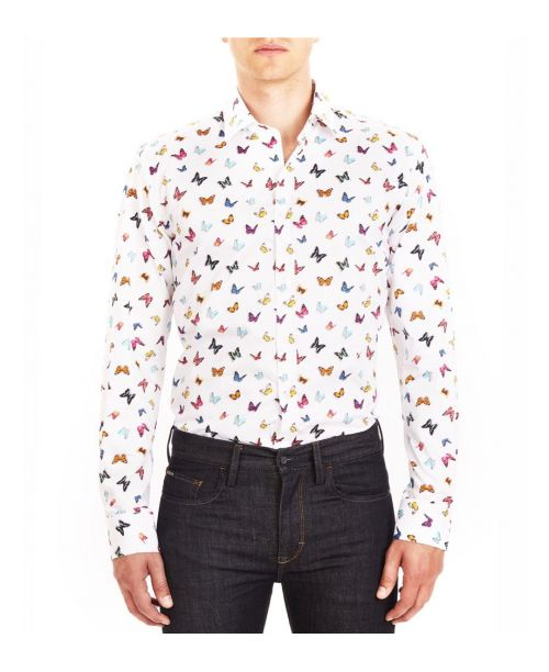 Guide London Cotton Sateen Butterfly Print Shirt