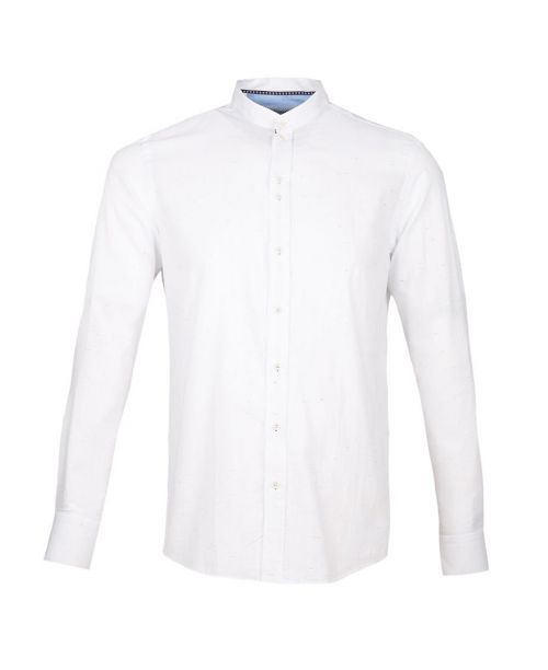 Guide London Long Sleeve Light Weight Shirt with NEP Effect White
