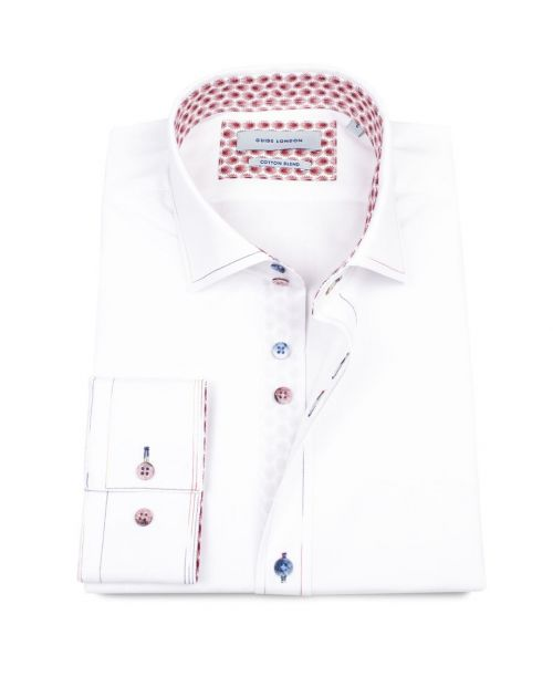Guide London White Cotton Blend Shirt with Multi-coloured buttons and contrast stitching