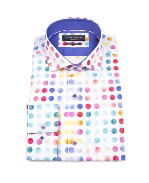 Guide London White Cotton Shirt with a Multi-coloured circular print