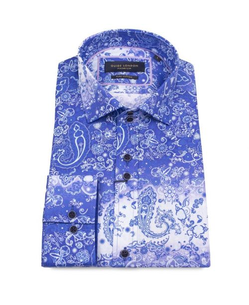 Guide London Blue Cotton Faded Paisley Printed Shirt