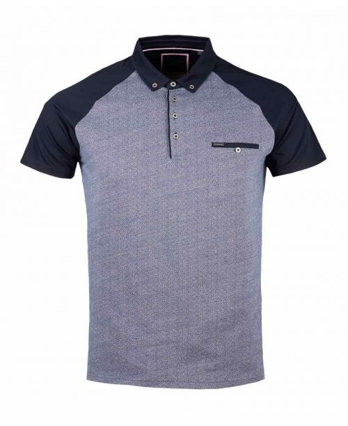 Guide London Distortion Effect Cotton Jacquard Polo Navy/White
