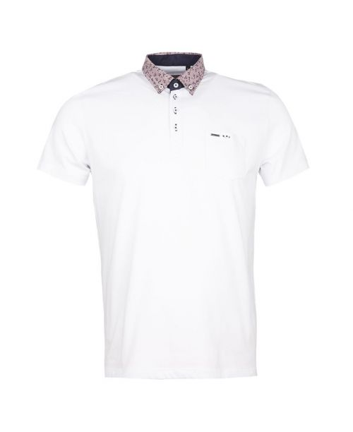 Guide London White Cotton Polo with Contrast Collar