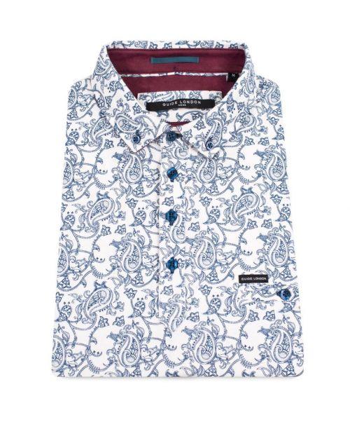 Guide London SS Soft Cotton Paisley Polo Shirt White/Blue
