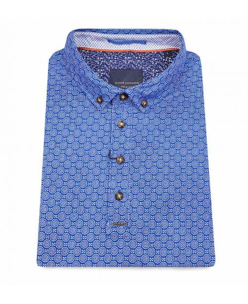 Guide London Cotton Polo with Vibrant Circular Geometric Print
