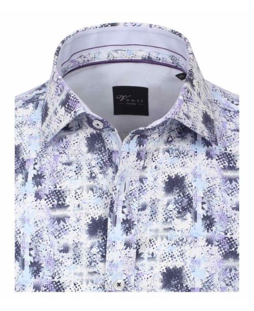 Venti Kent Slim Fit Shirt Blue Floral