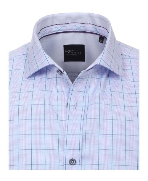 Venti Hai Slim Fit Shirt with Cutaway Collar Blue Check