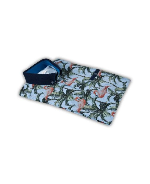 Giordano Mex SS Oxford Polo Flamingo and Palm Print Blue