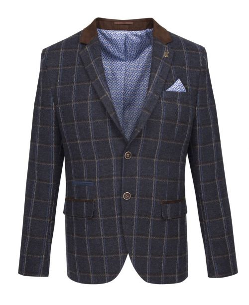 Fratelli Uniti Navy Bold Herringbone and Overcheck Jacket