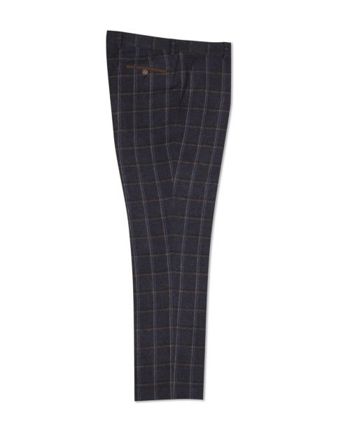 Fratelli Uniti Navy Bold Herringbone and Overcheck Trousers