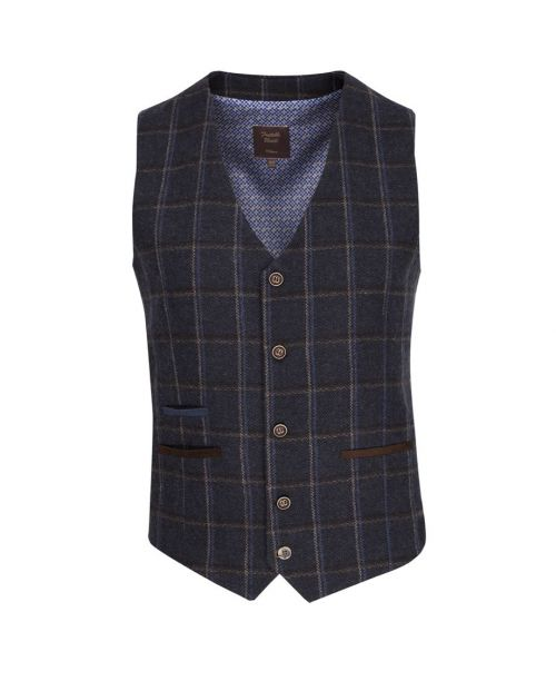Fratelli Uniti Navy Bold Herringbone and Overcheck Waistcoat
