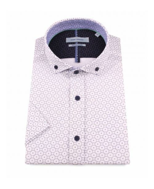 Guide London White SS Pique Jersey with Octagonal Print