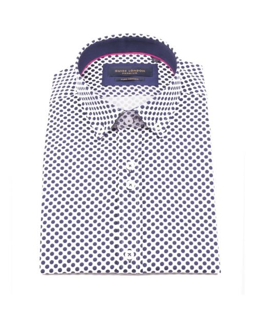 Guide London SS Cotton Sateen Shirt with Polka Dot Print