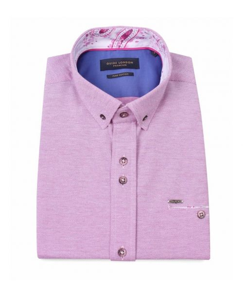 Guide London Pure Cotton Pique SS Shirt Pink