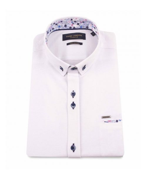 Guide London Pure Cotton Pique SS Shirt White