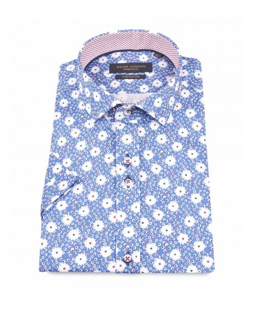 Guide London SS Cotton Sateen Shirt with a Bright Flower Print.