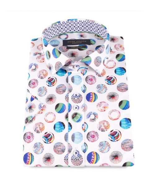 Guide London Shirt with Multi-Coloured Psychedelic Globe Prints