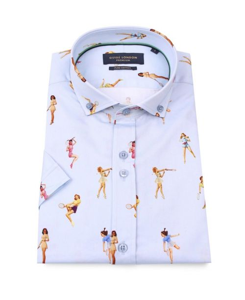 Guide London SS Cotton Sateen Shirt Pinups Tennis Players Sky