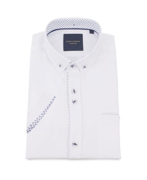 Guide London Soft and Light Cotton Fabric SS Shirt White