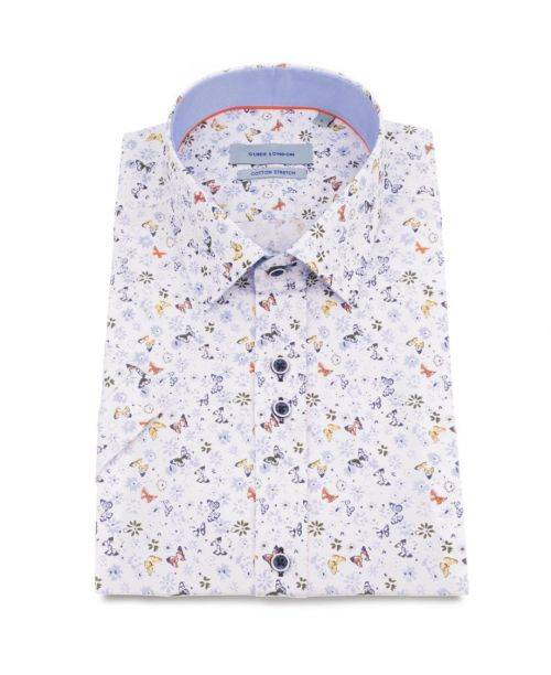 Guide London Mini Butterfly Print Cotton Stretch SS Shirt