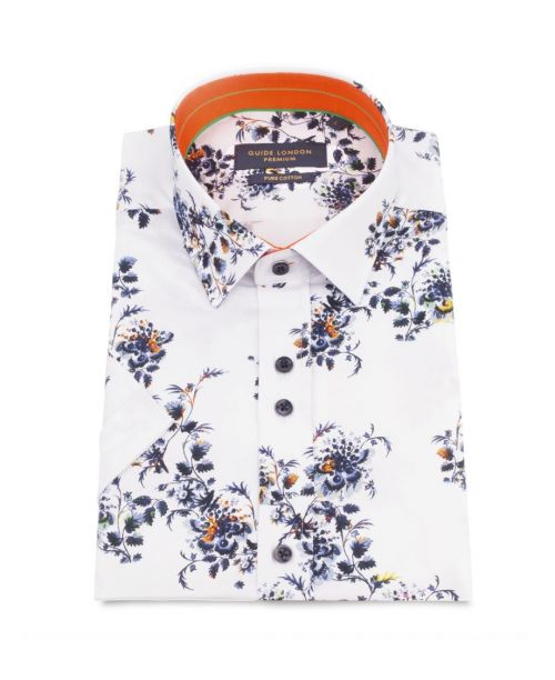 Guide London Floral Print SS Cotton Shirt White