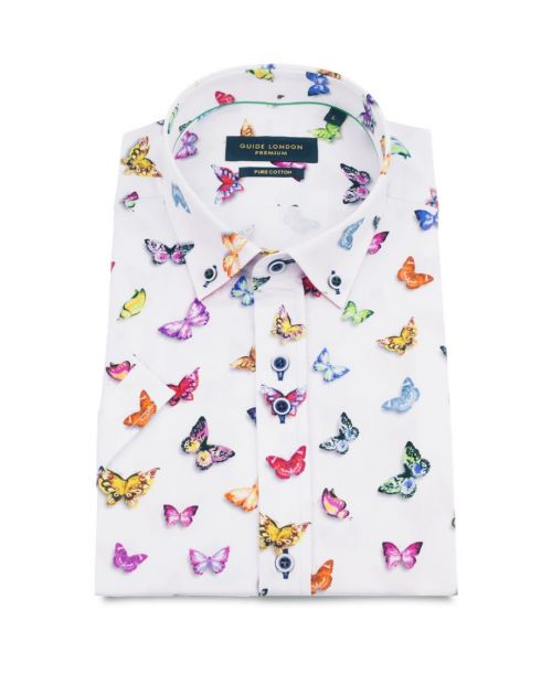 Guide London Vibrant Butterfly Print SS Cotton Shirt White