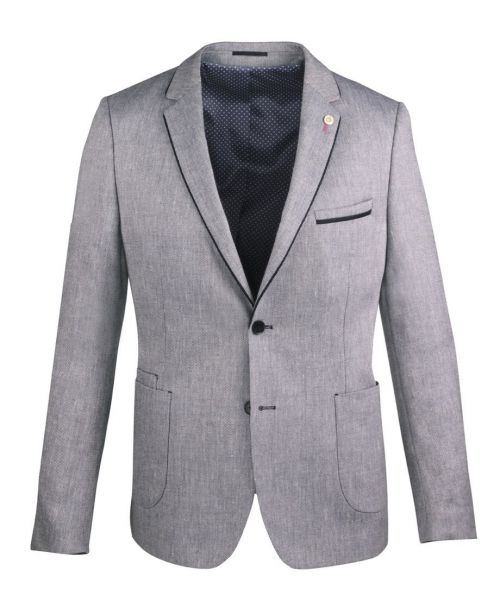 Guide London Linen Blend Blazer, Navy Contrast Trim, Polka Dot Lining
