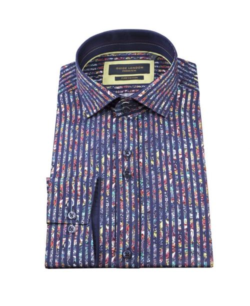 Guide London Bold Stripe Cotton Sateen Paisley Shirt Navy