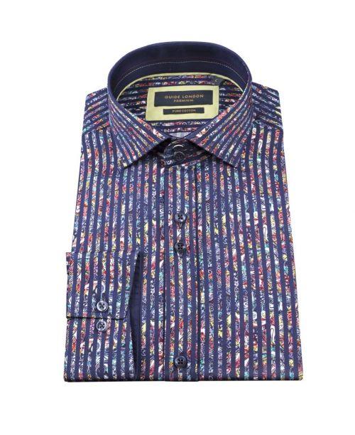 Guide London Bold Stripe Cotton Sateen Paisley Shirt Navy