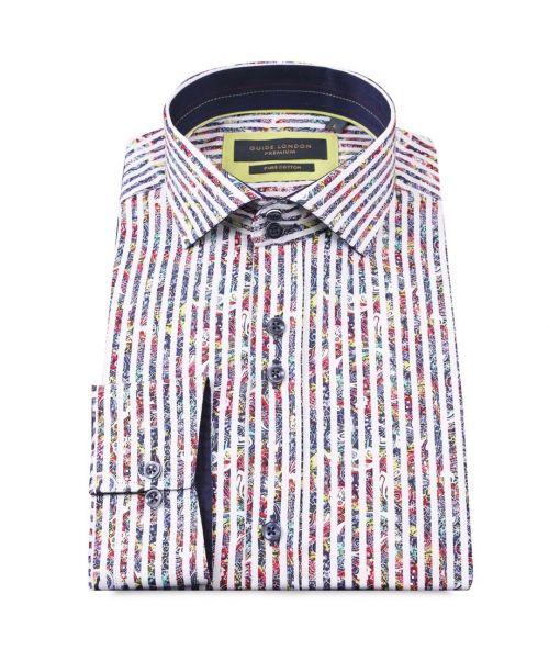 Guide London Bold Strip Cotton Sateen Paisley Shirt White
