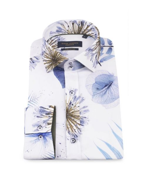 Guide London White/Sky Bold Spaced Leaf Print Shirt